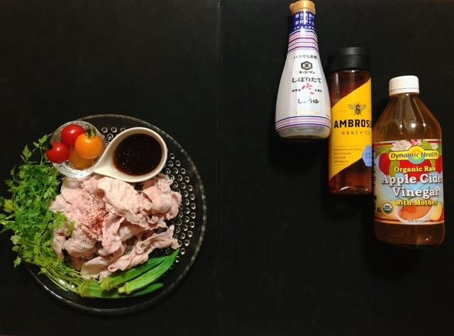 アイハーブレシピで使った調味料と豚しゃぶサラダ