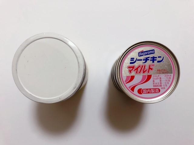 バター風味ココナッツオイルの大きさをツナ缶で比較