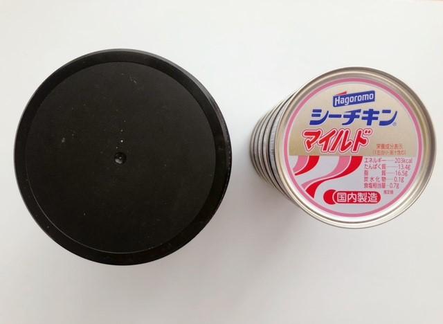 バーリーンズの亜麻仁の大きさをツナ缶で比較